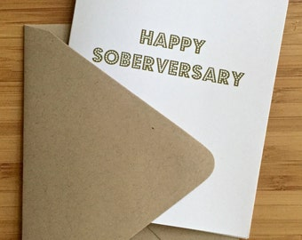 Sober Anniversary Card with gold letters. Recovery card, sober card, sobriety card, addiction recovery card, aa card, na card, soberversary