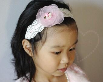 Chiffon flower headband, matching mommy baby,vintage lace headband, spring flower girl,christening headband, shabby chic, floral headband