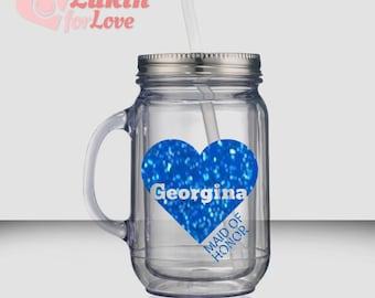 Glitter Bridesmaid Tumbler Heart - 18 oz Mason Jar, Custom Bachelorette Party Gift, Personalized Tumbler, Bride Tumbler, Bridesmaid Gift