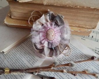 Victorian Rose Brooch Corsage, Wedding Corsage, Country Wedding, Rustic Brooch, Shabby brooch, Fabric brooch, Handmade textile brooches