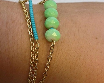 Mint Turquoise Gold Bracelet Set