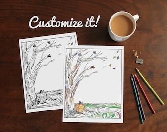 Custom Adult Coloring Page Digital Download / Autumn Leaves / Fall Tree / DIY Art