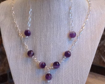 Amethyst jewelry set, amethyst necklace and earrings, February birthstone jewelry set, Febuary birthstone, amethyst jewelry set silver chain