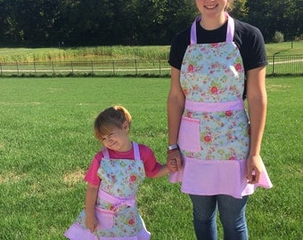 Mother and Daughter apron set in light pink polka dot roses