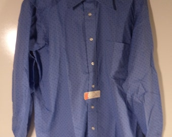 70's  Polka dot NEW oxford/ Techie geek hipster groovy shirt// Vintage A & S Hathaway button down//Size men's medium slim