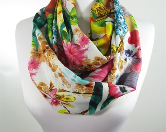 Floral Infinity Scarf Circle Scarf Spring Summer Fall Winter Accessories Women Fashion Accessories Christmas Gift For Her For Women For Mom