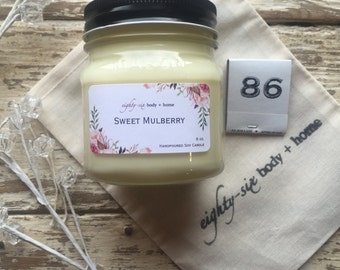 Sweet Mulberry Scented Mason Jar Soy Candle + 8 oz Container Candle with Wood Wick