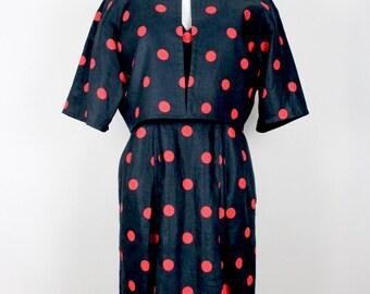 GIVENCHY 1980s Vintage Dress Jacket Ensemble Polka Dot Black Red Sizes Germany 36-38 / UK 8-10 / USA 4-6