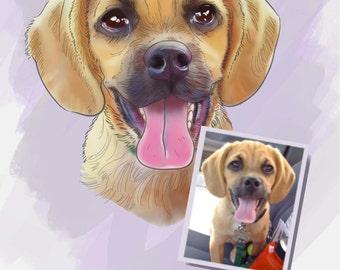 Custom pet portrait CANVAS PRINT- 8x10 Personalized dog painting- Custom dog canvas- Sketch Print dog portrait- Customizable pet picture art