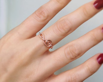 Sideways Treble Clef Rose Gold Ring, Wire ring, Treble clef ring, Rose gold ring, Music note ring, Music ring, Music lover gift, Wire ring