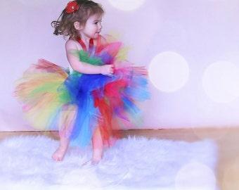 Rainbow tutu dress/ rainbow costume/ Handcrafted tutu/ Girls fashion/ Rainbow baby/ vivid colors/ rainbow of tulle/ rainbow bright