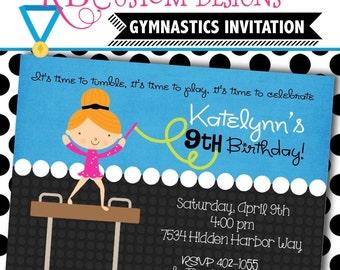 Gymnastics Personalized Invitation