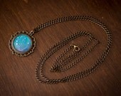 Galaxy art blue pendant necklace turquoise cameo vintage style handmade
