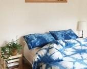 Hand Dyed Indigo Bedding, Shibori Bedding, QUEEN Size Duvet Cover and Two Pillow Cases, Anna Joyce, Portland, OR