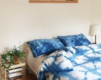 Hand Dyed Indigo Bedding, Shibori Bedding, QUEEN Size Duvet Cover and Two Pillow Cases, Anna Joyce, Portland, OR