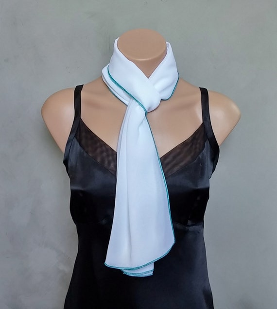 White Chiffon Scarf with Teal Edging - Other Colors Available