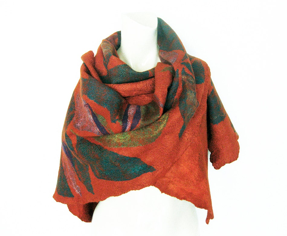 felt scarf felt shawl felt wrap silk wool scarf orange