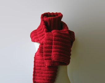 Red Merino Wool Blanket Scarf Hand Knitted Items Oversized Scarf, Chunky Knit Shawl Wrap Scarf, Womens Scarves, Huge Mens Scarf, Thick Scarf