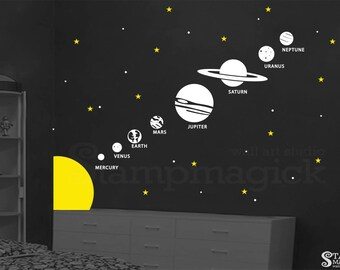 Solar System Vinyl Wall Decal - Outer Space Theme Home Decor - Planets Earth Jupiter Saturn Graphics for Children - K339