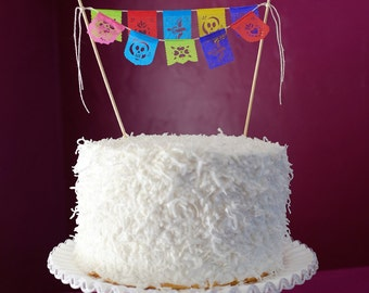 Fiesta cake topper - mini papel picado garland - Ready to ship