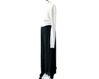 1990's I Magnin Sheer Black Chiffon Wide Legs Pants