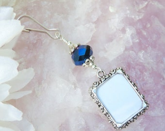 Something blue. Wedding bouquet photo charm. Bridal bouquet charm- small picture frame. Wedding keepsake. Gift for the bride. Memorial charm