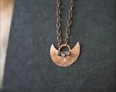 Etched Copper Crescent Necklace - Blue Grey Labradorite, Gemstone Pendant, Tribal Moon, Boho Metalwork Jewellery