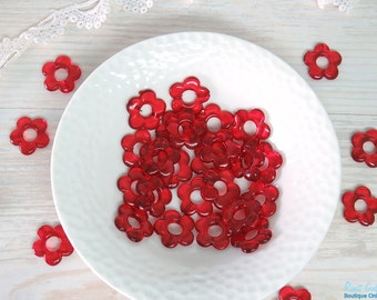 12 Red acrylic flower beads size 20 mm, daisy flower beads, transparent beads, Lucite flower beads for DIY craft & Jewelry projects