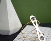 Labradorite cuff, statement cuff, brass cuff, infinity, wire cuff // INFINITE ORBIT CUFF