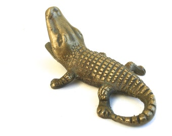 Vintage Brass Alligator figurine ~Small Ashtray ~ Hollywood regency era Abstract Modernist