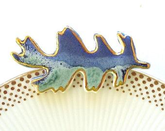 Porcelain Oak Leaf Brooch. Aqua & Sapphire Blue. Ceramic. Jade Green. Mint Green. Cobalt Blue. 22K Gold Edge. Autumn Jewelry. OOAK. Woodland
