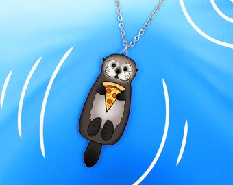 Sea Otter with Pizza Necklace