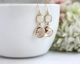 Smoky White Peach Earrings Wedding Earrings Peach Champagne White Opal Glass Gold Framed Dangle Earrings. Minimalist Bridesmaid Gifts Bridal