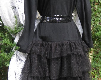 sz 10 Dark Fairy Warm Light Knit dress with tulle netted skirt dress, vintage 1980s 80s cocktail dress