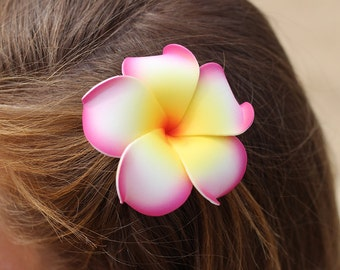 Flower Hair Clip, 3 inch Plumeria, Pink and Yellow, Floral Clips, Beach   Hair Accessory