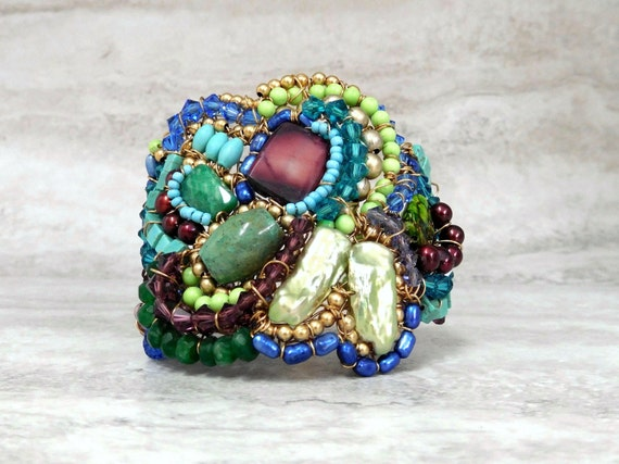 Boho Cuff- Beaded Bohemian Bracelet in Peacock Colors (Holiday Gift for Her) 4075b