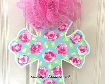 FREE SHIPPING - Rosebud Cross Door Hanger - Bronwyn Hanahan Art