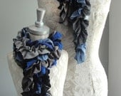 SALE - Mommy & Me set of Patchwork petal scarf by Fairytale13 - Grey, Blues, black, lace and pleated jersey mix - handmade in the Uk.