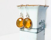 Citrine Chalcedony Earrings Citrine Earrings Natural Stone Bezel Golden Earrings Sterling Silver Quartz November Birthstone Birthday Gift