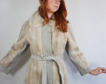 Vintage 60s Women's Beige Faux Fur Suede Russian Princess Coat