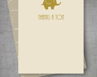 Printable Elephant Baby Shower Thanks A Ton Card (PDF)