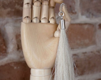 Blond horsehair and sterling silver tassel necklace