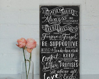 SALE! Sign was 79.00 now 20% Off !! Chalkboard Family Rules Bible Scripture Verses  Typography Word Art  Wood Wall Sign
