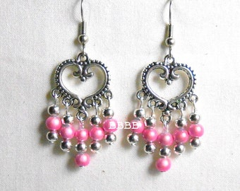 Antiqued Silver Pink Heart Chandelier Earrings - Surgical Steel French Hooks