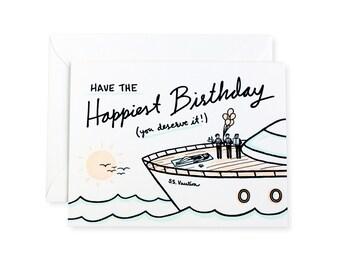 Happy Birthday Yacht Letterpress Card