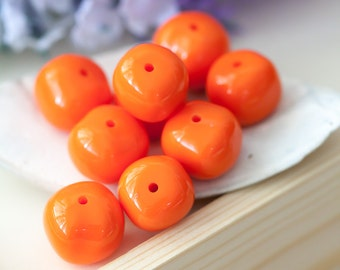Vintage Nugget Beads Orange Acrylic Baroque Nugget Beads 15mm 16mm 17mm Mixed Lot