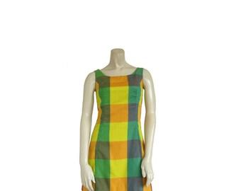 1960s Dress • 60s Summer Dress • Plaid Mini Shift • Picnic - XS S