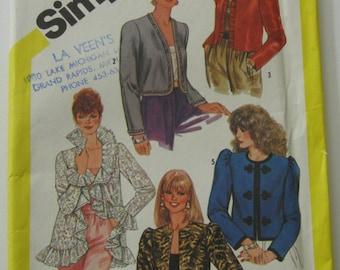 Misses Set of Lined Evening Jackets Size 10 Bust 32.5 Vintage 1980's Simplicity Pattern 5793 UNCUT