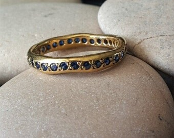 Promise ring for her 18k gold ring engagement band Multistone ring blue saphire engagement ring stacking rings gold curved wedding band