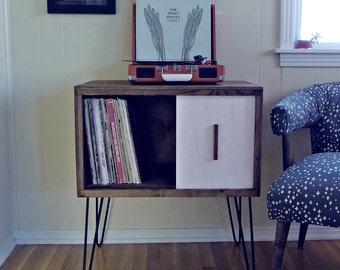 Reclaimed Wood Record Cabinet